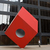 SQUARE VERSION Noguchi Red Cube Sculpture on Broadway