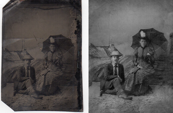 Tin Type image cleaned up and turned to black and white