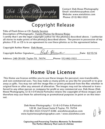 001Deb Howe Photography  Copyright Release Home Use License