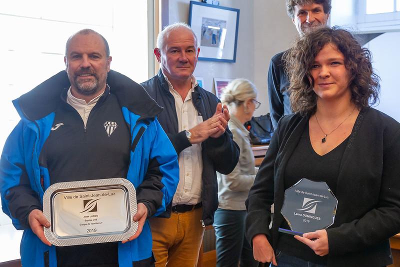 Service des Sports de Saint-Jean-de-Luz, remise des médailles aux sportifs luziens et cibouriens pour leur saison 2019.