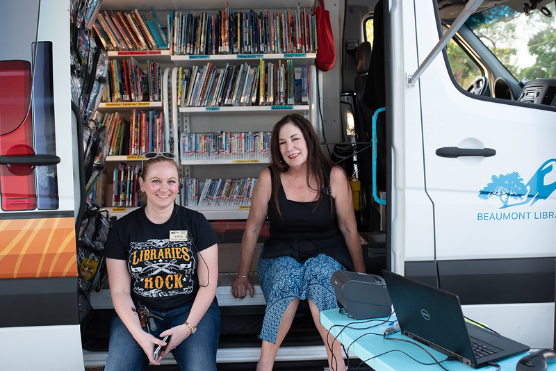 Library staffers who helped with bookmobile