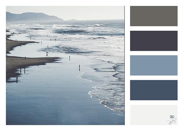 Fine Art Photograph Ocean Blue and Grey Color Palette