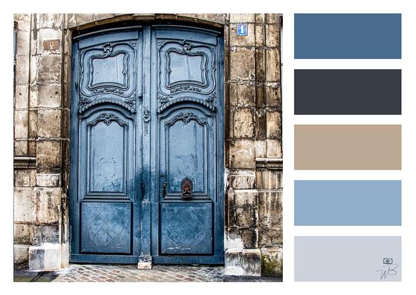 Fine Art Photograph Medieval Door Blue Color Palette