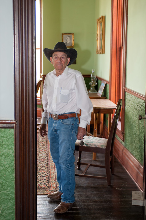 Shaie Williams. Bob Cates 86 year old cowboy. Now helps take care of the historical General Office of the XIT Ranch built in 1898. The Interview at Channing, TX on May 6, 2016.