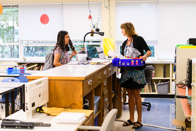 Art teacher Tracy Rhoades chats with a student. Back to school day at McNary High School on Wednesday, September 4, 2019 in Keizer, Ore.
