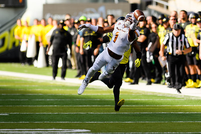 Arizona State freshman wide receiver N'Keal Harry (1) watches as the ball slips through his fingers during the first quarter. The Arizona State Sun Devils face the Oregon Ducks at Autzen Stadium in Eugene, Oregon on October 29, 2016. (Michael Arellano/DieHard Devil)