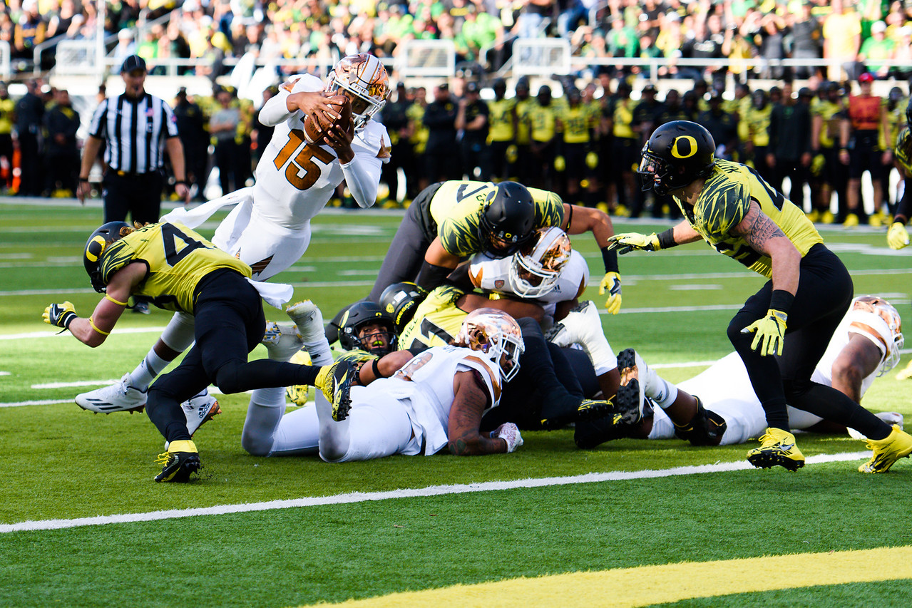 Arizona State freshman quarterback Dillon Sterling-Cole (15) punches into the end zone for the first Sun Devil touchdown during the first quarter. The Arizona State Sun Devils face the Oregon Ducks at Autzen Stadium in Eugene, Oregon on October 29, 2016. (Michael Arellano/DieHard Devil)