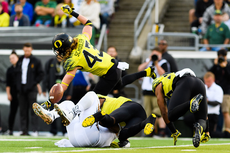 The ball springs loose after Arizona State freshman wide receiver N'Keal Harry (1) is tackled during the third quarter. The Arizona State Sun Devils face the Oregon Ducks at Autzen Stadium in Eugene, Oregon on October 29, 2016. (Michael Arellano/DieHard Devil)