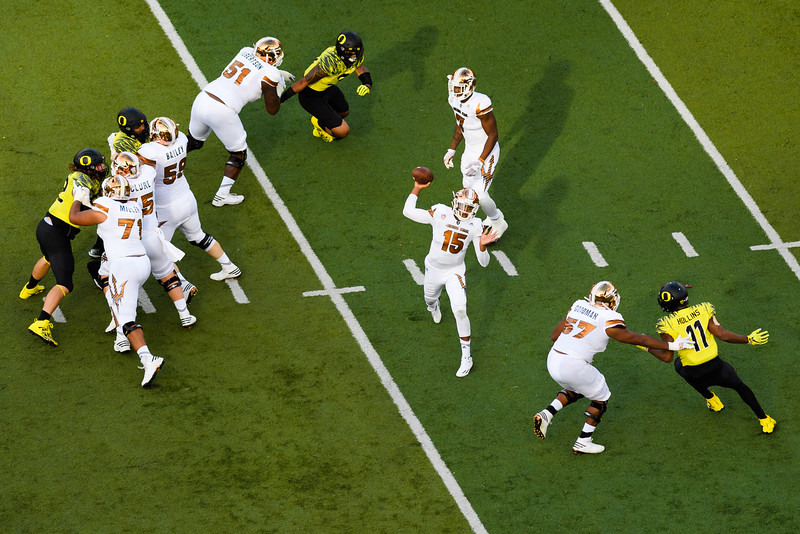 Arizona State freshman quarterback Dillon Sterling-Cole (15) looks to throw late in the second quarter. The Arizona State Sun Devils face the Oregon Ducks at Autzen Stadium in Eugene, Oregon on October 29, 2016. (Michael Arellano/DieHard Devil)