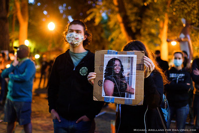 Breonna Taylor is remembered outside the Multnomah County Justice Center. Ongoing protests against police brutality on Friday, July 17, 2020, in Portland, Ore. (Michael Arellano for DailyMail.com)