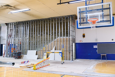 New stairwell under construction in the McNary High School gymnasium on Friday, August 16, 2019, in Keizer, Ore.