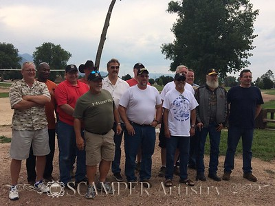 "Group photo at the company BBQ. R.c. Douthit and Ralph Bowlin had left prior to this being taken. L-R Jim Cranford, Tony McCommons, Gary Anspach, Todd A Ernst, Ricky Doiron, Woloski Paul, Kevin Donaghey, Maurice Hannah, Michael Ceniceros, Jack Ellison, Richard A. Halverson, Scott Huston, Thomas Hargis — with Jim Cranford, Ricky Doiron, Woloski Paul, Maurice Hannah and Thomas Hargis.   SSG David ""road Dawg"" Clark not pictured."