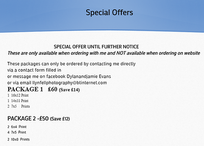 Packages and offers availably