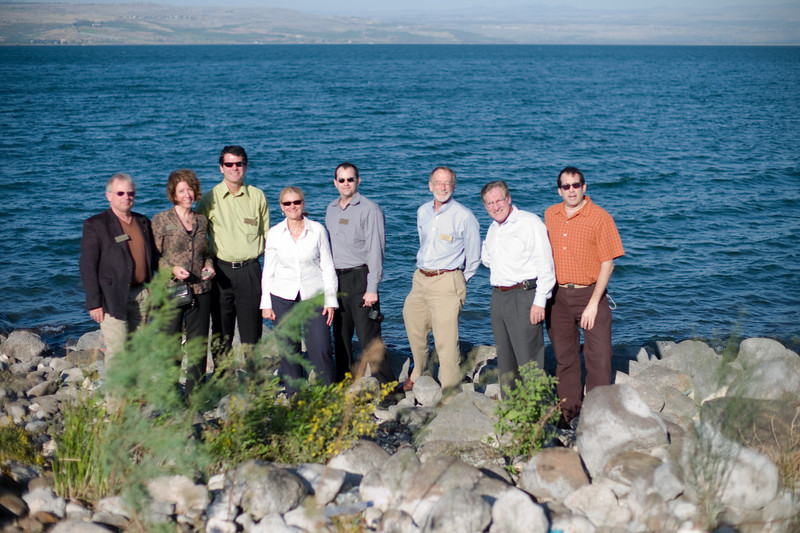 Our Water Council friends on the largest freshwater lake in Israel--the Sea of Galilee. From the left- Claus Dunkelberg, Industry Specialist, M7 Water Council; Mickey Judkins, Administrator, Division of Global Ventures, Commerce Dept.; Steve Sletner, Business Development Manager, Red Flint Sand and Gravel; Julia Taylor, President, Greater Milwaukee Committee; Brian Schupper, President, Schupper Consulting; Sammis White, Professor, UW-Milwaukee; Carlos Santiago, Chancellor, UW-Milwaukee; Eric Crawford, Leader of Greenman Alliance.
