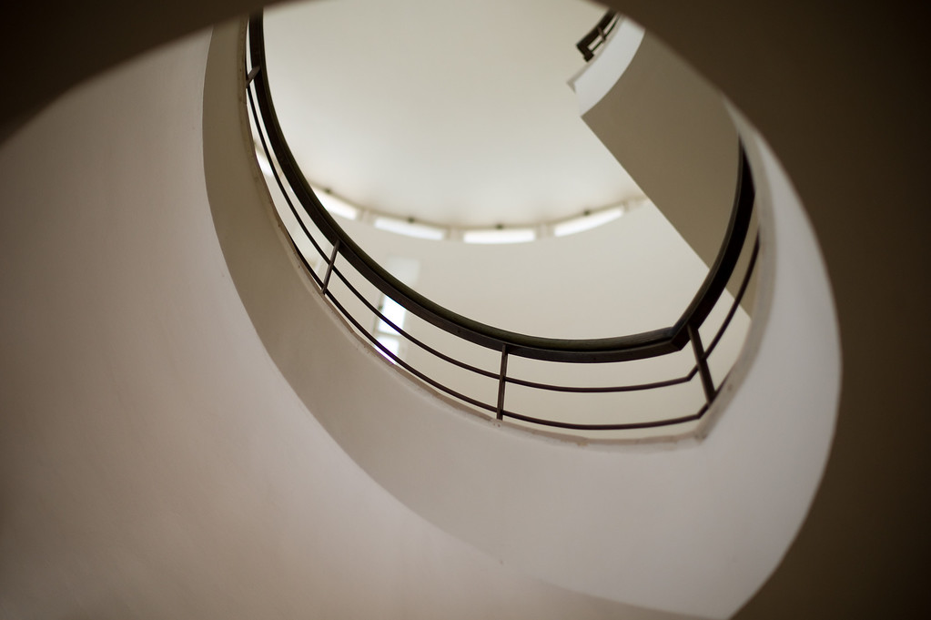 Stairwell in the Weizmann House built in Rehovot in 1937. The official residence of Israel's first president, Dr. Chaim Weizmann and his wife Vera was designed by Erich Mendelsohn, an architect who is most often associated with Modernism, Expressionism and the International Style.
