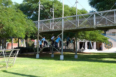 The Clore Garden of Science at the Weizmann Institute, is the world's first completely interactive outdoor science museum. Boys playing under  a suspension platform.
