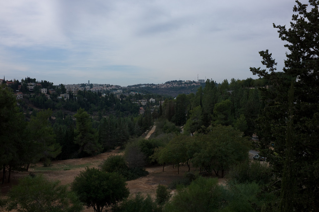 View of Jerusalem at the entrance to Yad Vashem--Located at the foot of Mount Herzl on the Mount of Remembrance in Jerusalem, Yad Vashem is the Holocaust Martyrs History Museum