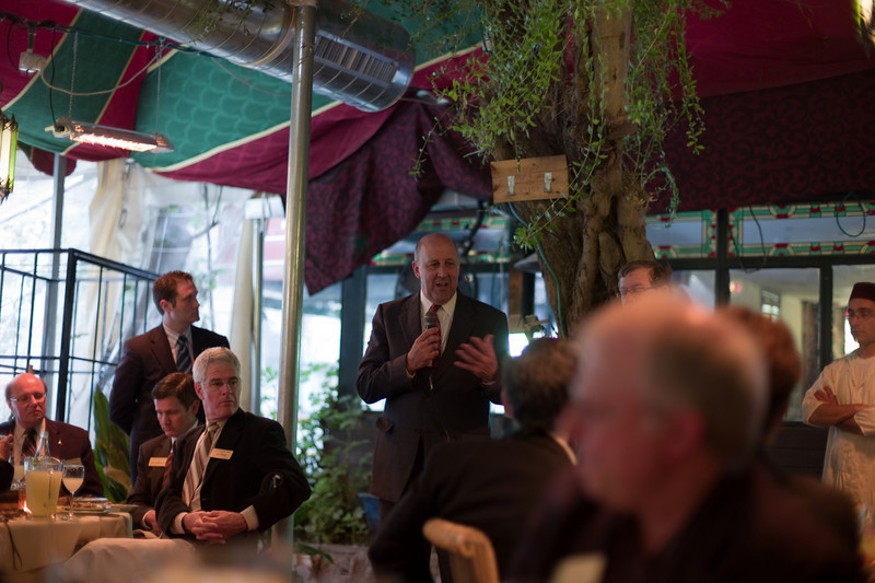 Governor Doyle addressing the the delegation at lunch at DARNA- a moroccan restaurant.