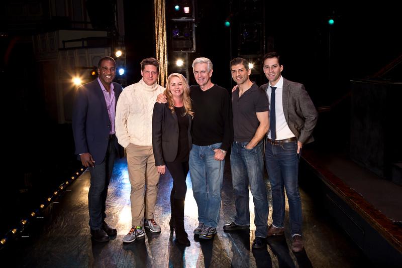 (l-r) Norm Lewis, Christopher Sieber, Jo-Ann Bethell Pantuso, James Naughton, Tony Yazbeck, Ryan Silverman.  (Photo: Jeremy Daniel)