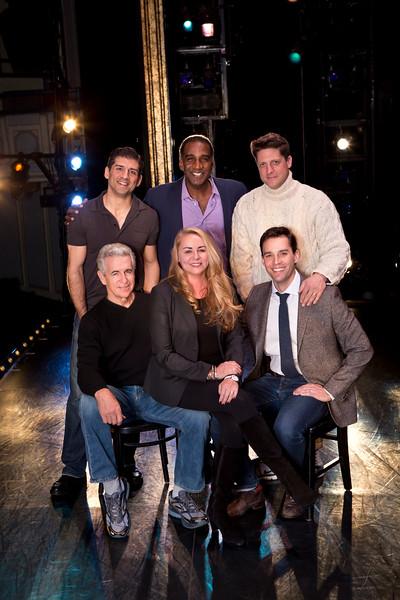 (Top, l-r) Tony Yazbeck, Norm Lewis, Christopher Sieber.  (Bottom, l-r) James Naughton, Jo-Ann Bethell Pantuso, Ryan Silverman.  (Photo: Jeremy Daniel)