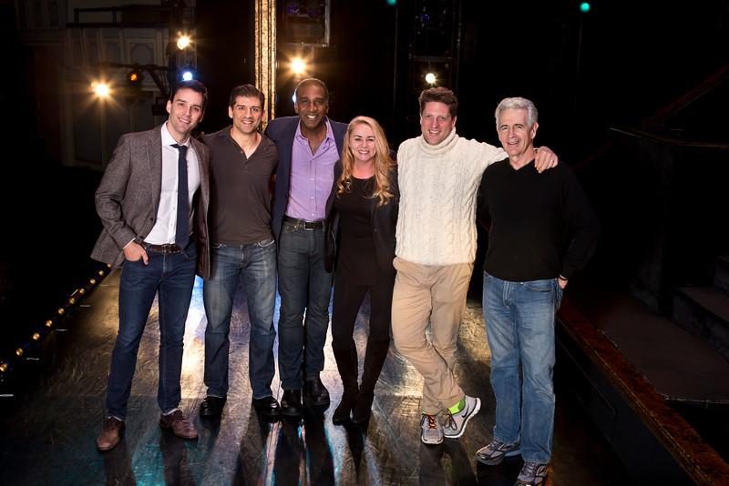(l-r) Ryan Silverman, Tony Yazbeck, Norm Lewis, Jo-Ann Bethell Pantuso, Christopher Sieber, James Naughton.  (Photo: Jeremy Daniel)