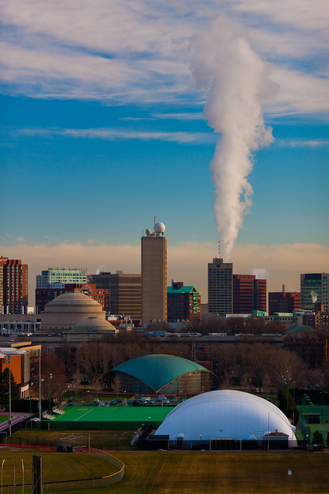 A cold winter day in Cambridge, MA with MIT skyline.