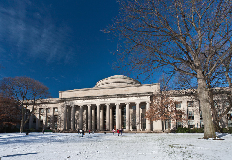 MIT Killian Court in snow.