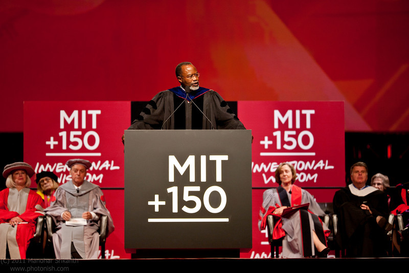Former Chancellor Phillip L. Clay PhD '75 speaks at the MIT Next Century Convocation.