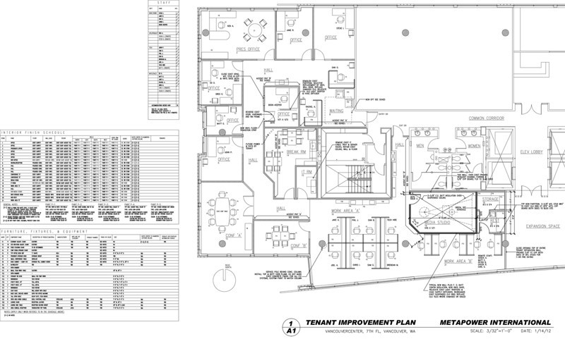 Overall Tenant Improvement Plan as of 1-14-12. Not approved. This is being developed now. Note Interior Finish and FF&E Schedules on the left.