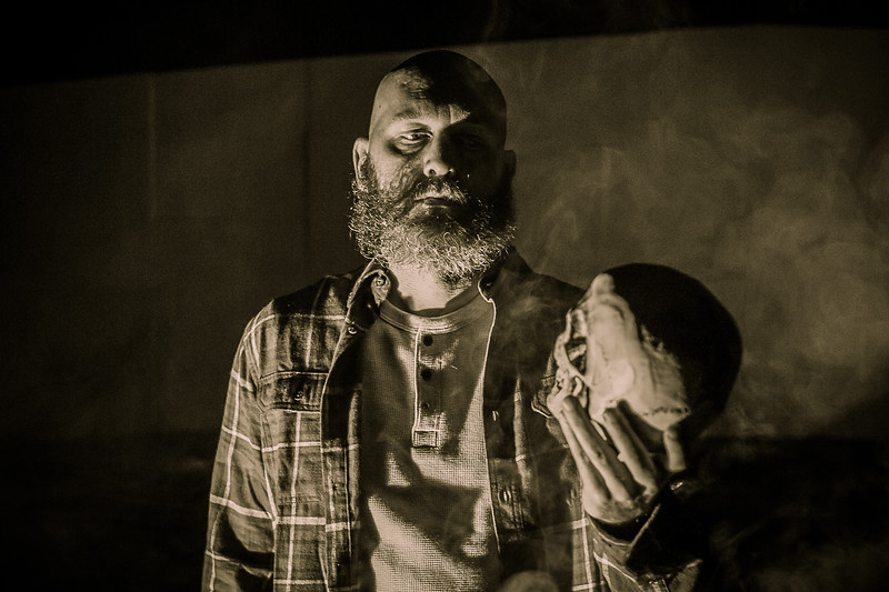 """Amarillo Little Theatre presents """"A Skull in Connemara"""" Patrick Burns as Mick Dowd with the skull. October 29, 2018 [Shaie Williams for Amarillo Globe News]"""