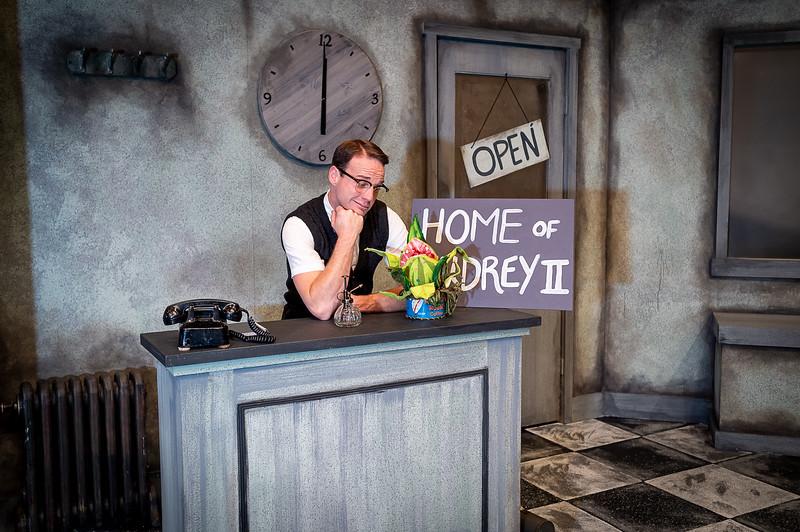 "Brandon Bellar as ""Seymour"". Amarillo Little Theatre presents ""Little Shope of Horrors [Shaie Williams for Amarillo Globe News]"