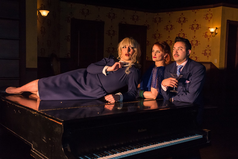"""Shaie Williams for AGN Media. Amarillo Little Theatre  presents """"The Musical Comedy Murders of 1940"""". left to right. Ryan Sustaita (Helsa), Marley Hoggatt (Bernice) and Tony Brazell (Roger). Photo taken at ALT Mainstage in Amarillo TX on January 9, 2018."""