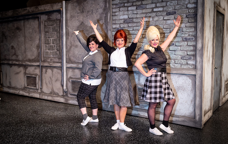 """Stephanie Adams as """"Crystal, Jeri Tidmore as """"Chiffon"""" and Deanna Hurt as """"Ronnette"""".  Amarillo Little Theatre presents """"Little Shope of Horrors [Shaie Williams for Amarillo Globe News]"""