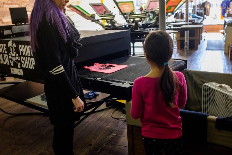 Making t shirts at Rockford Art Deli in Rockford IL!