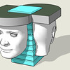 "Ultimately I found a human head model in the Sketchup library online and Allan worked it into this version. Note that the totem has become a stack of ""plates"" that represent apertures or packets for stories to be held in the shared consciousness zone."