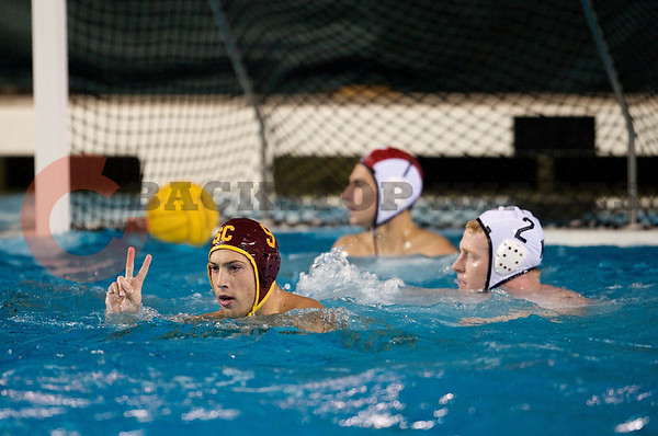 06 December 2008: USC Trojans driver Kyle Sterling (9) celebrates a score during the Trojans 14-9 win over the Navy Midshipmen in the NCAA men's water polo championship semi-final game at the Avery Aquatic Center in Stanford, CA.