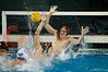 06 December 2008: USC Trojans goalkeeper Joel Dennerley (1) cannot stop a shot from Navy Midshipmen left-hander Kevin Bell (9) during the Trojans 14-9 win over the Midshipmen in the NCAA men's water polo championship semi-final game at the Avery Aquatic Center in Stanford, CA.