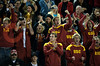 06 December 2008: USC fans cheer during the Trojans 14-9 win over the Navy Midshipmen in the NCAA men's water polo championship semi-final game at the Avery Aquatic Center in Stanford, CA.