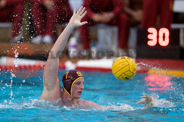 07 December 2008: USC Trojans two-meter Kevin May (7) defends a pass during the Trojans's 7-5 win over the Stanford Cardinal in the NCAA men's water polo championship final game at the Avery Aquatic Center in Stanford, CA.
