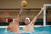 07 December 2008: USC Trojans driver Peter Kurzeka (4) shoots over Stanford Cardinal utility Will Hindle-Katel (8) during the Trojans's 7-5 win over the Cardinal in the NCAA men's water polo championship final game at the Avery Aquatic Center in Stanford, CA.