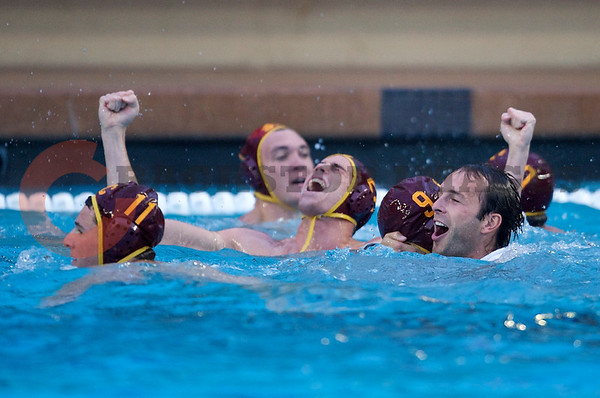 07 December 2008: USC Trojans two-meter J.W. Krumpholz (3) and teammates celebrate an undefeated season after the Trojans's 7-5 win over the Stanford Cardinal in the NCAA men's water polo championship final game at the Avery Aquatic Center in Stanford, CA.