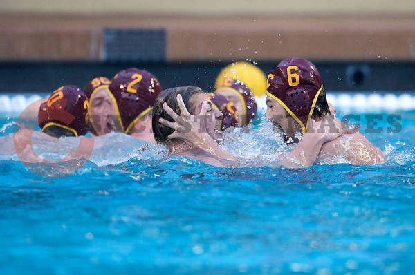 07 December 2008: USC Trojans driver Matt Sagehorn (6) and teammates celebrate an undefeated season after the Trojans's 7-5 win over the Stanford Cardinal in the NCAA men's water polo championship final game at the Avery Aquatic Center in Stanford, CA.