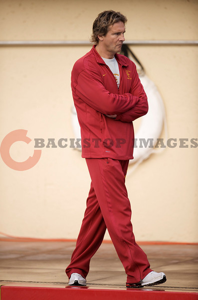 07 December 2008: USC Trojans head coach Jovan Vavic during the Trojans's 7-5 win over the Stanford Cardinal in the NCAA men's water polo championship final game at the Avery Aquatic Center in Stanford, CA.