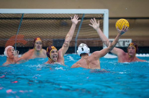 07 December 2008: USC Trojans two-meter J.W. Krumpholz (3) defends Stanford Cardinal driver Sage Wright (11) during the Trojans's 7-5 win over the Cardinal in the NCAA men's water polo championship final game at the Avery Aquatic Center in Stanford, CA.