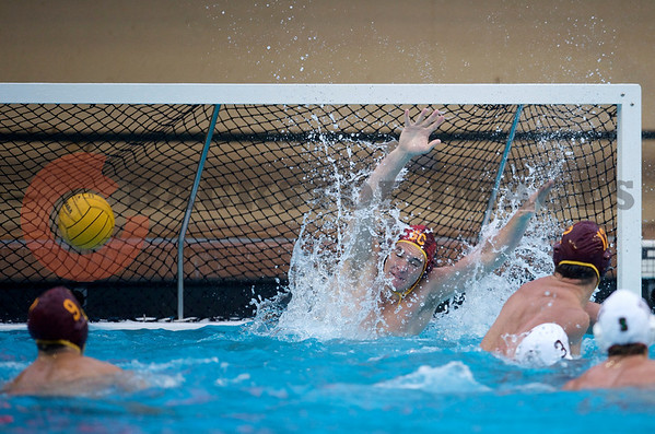 07 December 2008: USC Trojans goalkeeper Joel Dennerley (1) cannot stop a shot during the USC Trojans's 7-5 win over the Cardinal in the NCAA men's water polo championship final game at the Avery Aquatic Center in Stanford, CA.