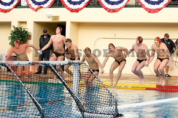 07 December 2008: USC players jump into the pool before the Trojans's 7-5 win over the Stanford Cardinal in the NCAA men's water polo championship final game at the Avery Aquatic Center in Stanford, CA.