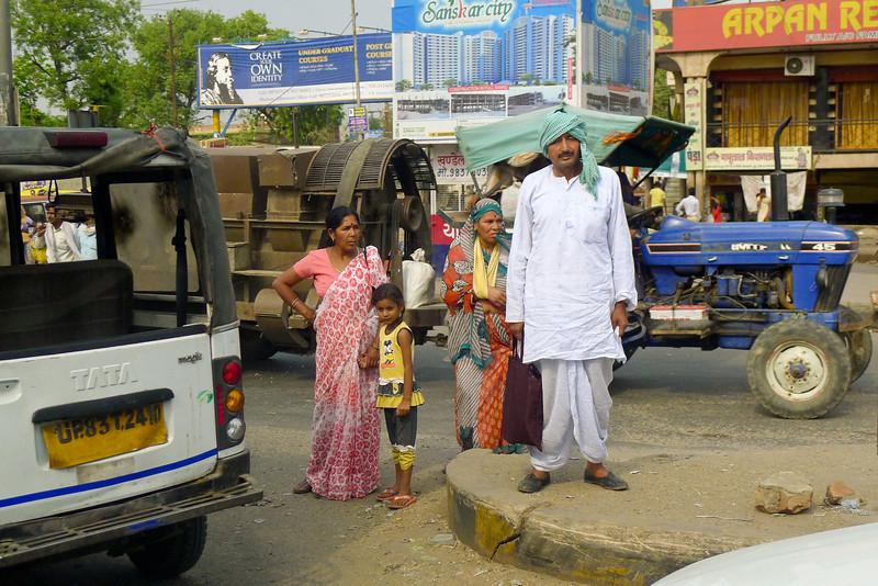 Family leaving the market