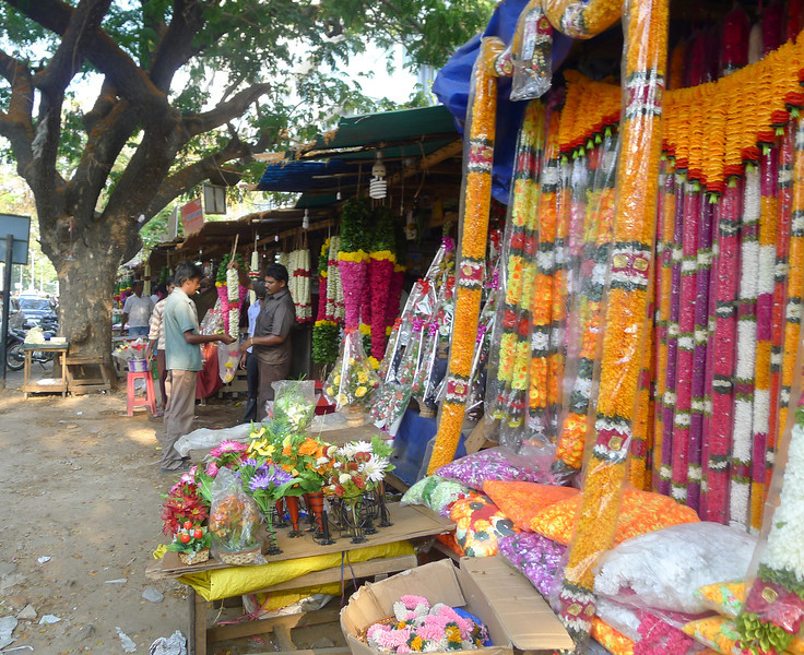 Strands of garlands at the market