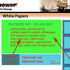 """CONCEPT FOR WP PAGE IN WEBSITE. Upper center 3-box-set features the latest whitepaper. Green area is an engaging, autorunning video made from """"leavings"""" of the WP development process. Includes appropriate music or talking audio, and moving images in continuous loop. Central 3-box-set is all about the feature WP.  Here's first cut at this   feature video:<br />  <a href=""""http://designdeliverables.smugmug.com/gallery/13133983_qx4XM#1089772312_TyWvn-M-LB"""">http://designdeliverables.smugmug.com/gallery/13133983_qx4XM#1089772312_TyWvn-M-LB</a>  Bottom left is talking head video of MP principal introducing the WP. Clicking  the box runs the video in the green splash zone. Here's first WP intro video:  <a href=""""http://designdeliverables.smugmug.com/gallery/13133983_qx4XM#1087438854_UkDNR-M-LB"""">http://designdeliverables.smugmug.com/gallery/13133983_qx4XM#1087438854_UkDNR-M-LB</a> . Bottom right is written abstract of WP content, includes a link to the WP PDF. Right margin is prior WP's in a scrolling interface. Clicking runs their 3 box set in the feature area."""