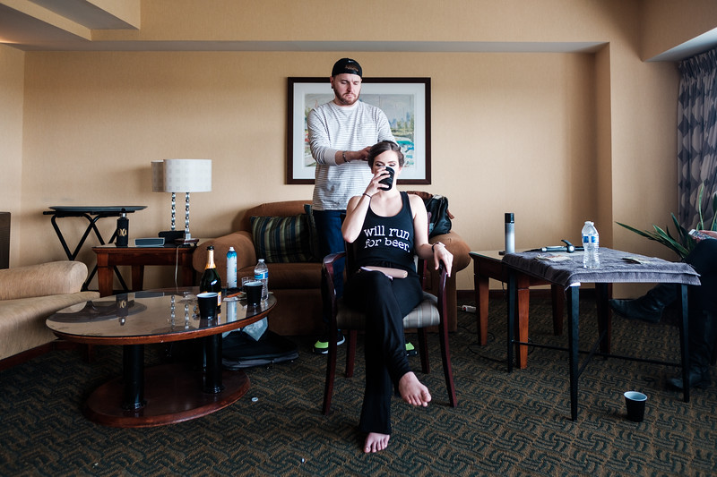 Becca + Ben get ready for their April wedding at DoubleTree by Hilton Hotel and Esplanade Lakes in Downers Grove.